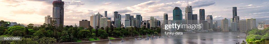 Brisbane business district sunset panorama : Stock Photo