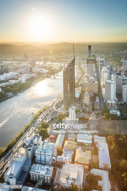 brisbane city aerial - brisbane stock-fotos und bilder