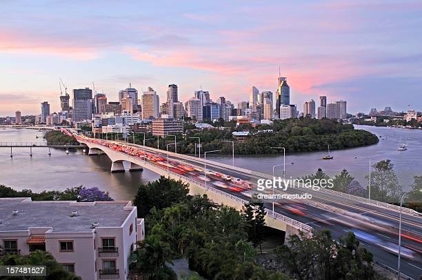 brisbane city congestion - queensland stock pictures, royalty-free photos & images