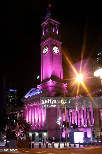 Brisbane City Hall is seen lit up in pink in memory of Hannah Clarke and her children in February 23 2020 in Brisbane Australia Hannah Clarke and her...