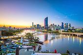Brisbane city skyline and Brisbane river at twilight