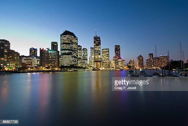 Brisbane City Skyline At Sunset from Kangaroo Poin