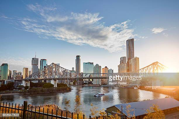 brisbane city story bridge - brisbane stock pictures, royalty-free photos & images
