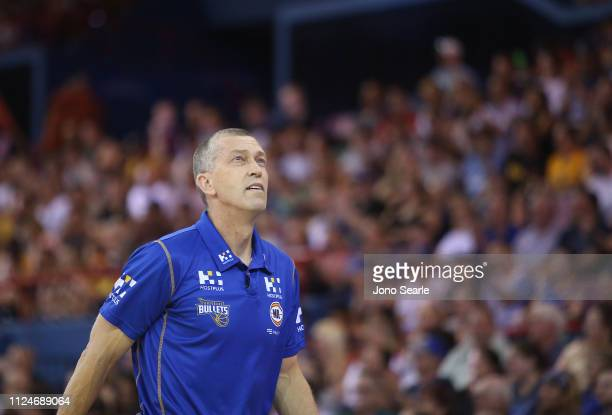 Brisbane coach Andrej Lemanis looks on during the round 15 NBL match between the Brisbane Bullets and the Sydney Kings at Brisbane Entertainment...