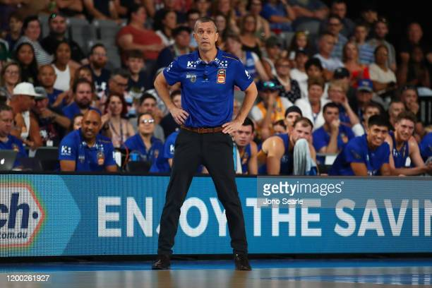 Brisbane coach Andrej Lemanis looks on during the round 16 NBL match between the Brisbane Bullets and the Illawarra Hawks at Nissan Arena on January...