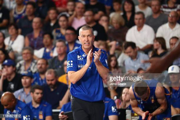 Brisbane coach Andrej Lemanis reacts during the round five NBL match between the Brisbane Bullets and the Perth Wildcats at Nissan Arena on November...