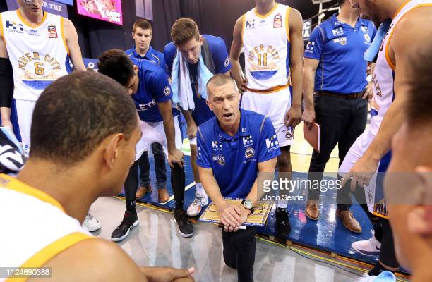 Brisbane coach Andrej Lemanis talks to his team during the round 15 NBL match between the Brisbane Bullets and the Sydney Kings at Brisbane...
