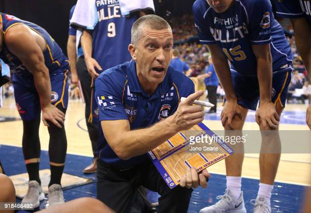 Brisbane coach Andrej Lemanis talks to his team during the round 19 NBL match between the Brisbane Bullets and the Sydney Kings at Brisbane...