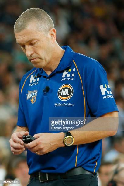 Brisbane coach Andrej Lemaniswalks the sideline during the round 17 NBL match between Melbourne United and the Brisbane Bullets at Hisense Arena on...