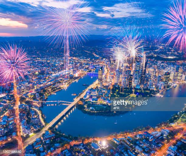brisbane fireworks, queensland, australia - brisbane stock pictures, royalty-free photos & images