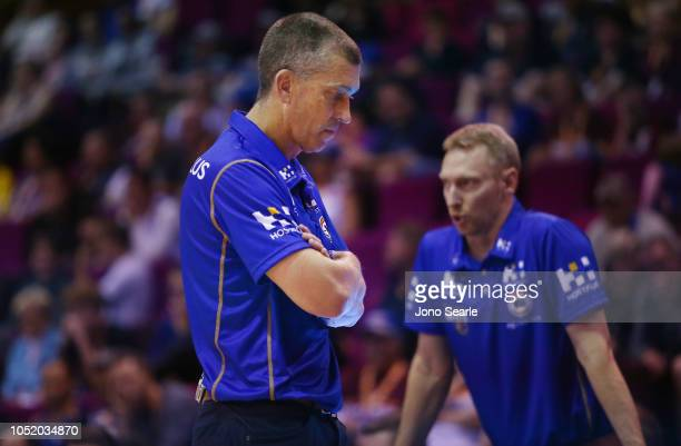 Brisbane head coach Andrej Lemanis looks on during the round one NBL match between the Brisbane Bullets and the Cairns Taipans at Brisbane Convention...