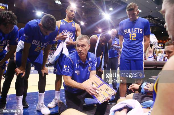 Brisbane Head Coach Andrej Lemanis talks to his team during the round one NBL match between the Brisbane Bullets and the Cairns Taipans at Brisbane...