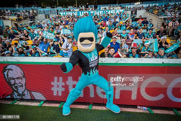 Brisbane Heat mascot Heater poses for a photograph during the Big Bash League match between the Brisbane Heat and the Melbourne Renegades at The...