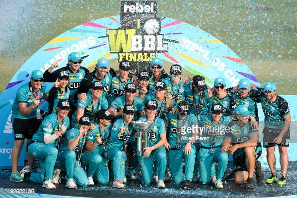 Brisbane Heat players celebrate winning the 2019 Women's Big Bash League Final match between the Brisbane Heat and the Adelaide Strikers at Allan...