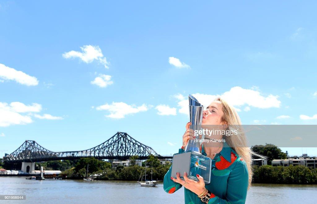 Brisbane International winner Elina Svitolina of Ukraine poses with the trophy on the Kookaburra Queen on January 7, 2018 in Brisbane, Australia.