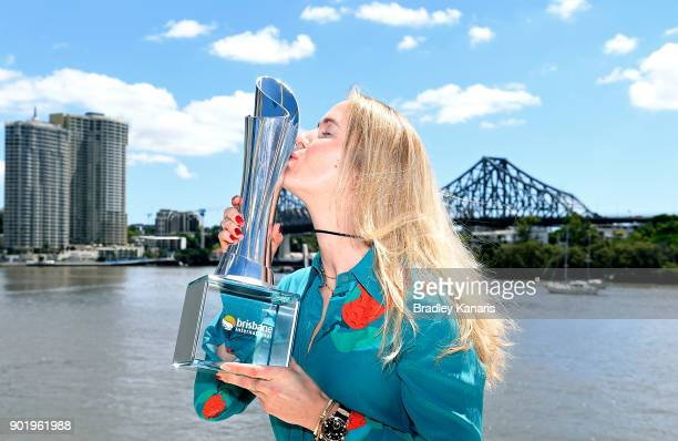 Brisbane International winner Elina Svitolina of Ukraine poses with the trophy on the Kookaburra Queen on January 7 2018 in Brisbane Australia