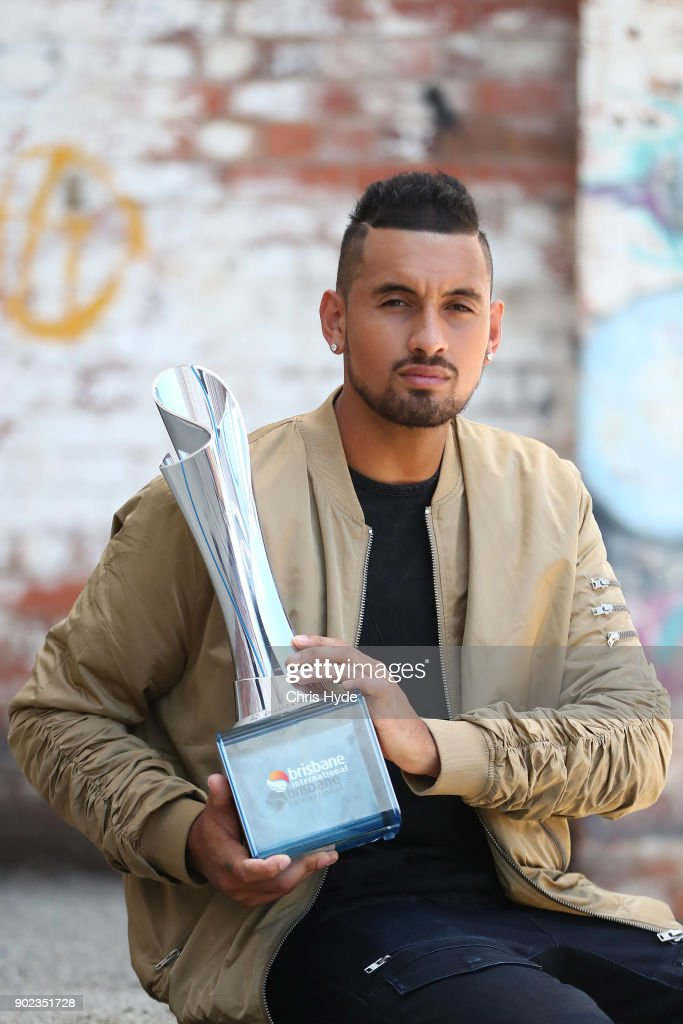 Brisbane International winner Nick Kyrgios poses with the trophy at the Brisbane Powerhouse on January 8, 2018 in Brisbane, Australia.