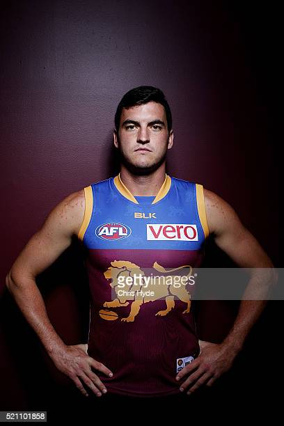 Brisbane Lions player Tom Rockliff poses during a portrait session at The Gabba on April 14 2016 in Brisbane Australia