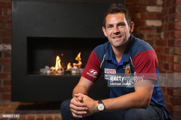 Brisbane Lions recruit Luke Hodge poses during a Brisbane Lions AFL media opportunity at WRAP on Southbank on November 1 2017 in Melbourne Australia