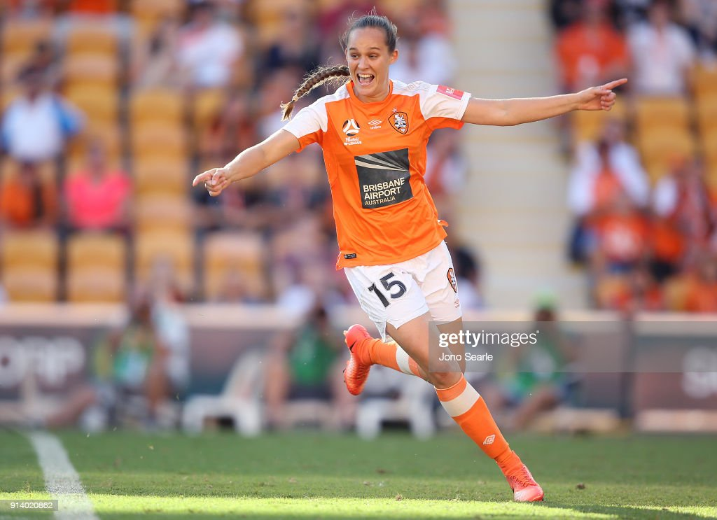 Brisbane player Abbey Lloyd celebrates her goal during the round 14 W-League match between the Brisbane Roar and Canberra United at Suncorp Stadium on February 4, 2018 in Brisbane, Australia.