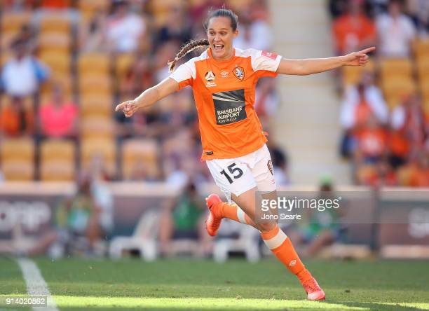 Brisbane player Abbey Lloyd celebrates her goal during the round 14 WLeague match between the Brisbane Roar and Canberra United at Suncorp Stadium on...