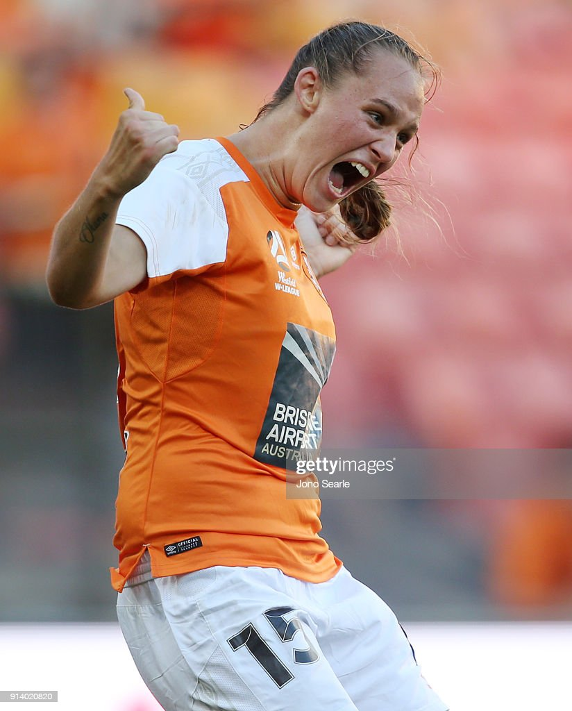 Brisbane player Abbey Lloyd celebrates her second goal during the round 14 W-League match between the Brisbane Roar and Canberra United at Suncorp Stadium on February 4, 2018 in Brisbane, Australia.
