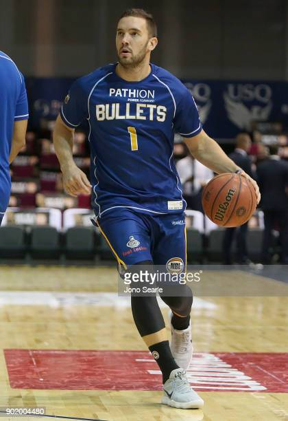 Brisbane player Adam Gibson warms up during the round 13 NBL match between the Brisbane Bullets and the Adelaide 36ers at Brisbane Convention...