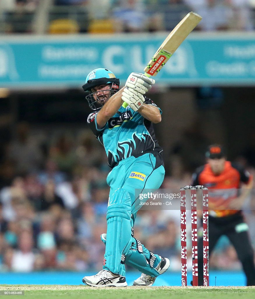 Brisbane player Ben Cutting hits a six during the Big Bash League match between the Brisbane Heat and the Perth Scorchers at The Gabba on January 5, 2018 in Brisbane, Australia.