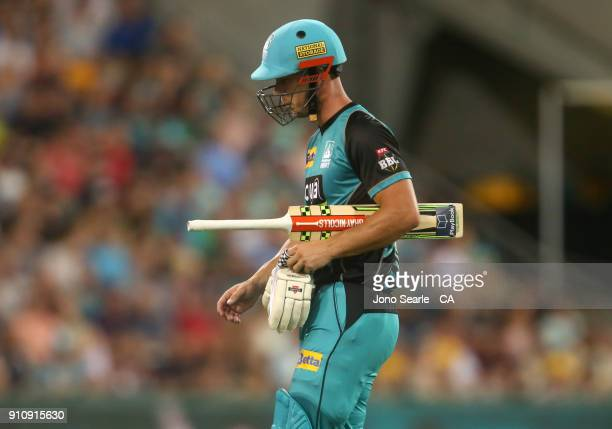 Brisbane player Chris Lynn leaves after getting out during the Big Bash League match between the Brisbane Heat and the Melbourne Renegades at The...