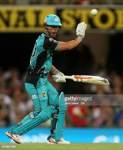 Brisbane player Chris Lynn looks to run during the Big Bash League match between the Brisbane Heat and the Melbourne Renegades at The Gabba on...
