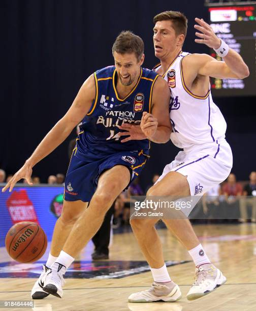 Brisbane Player Daniel Kickert competes with Sydney player Dane Pineau during the round 19 NBL match between the Brisbane Bullets and the Sydney...