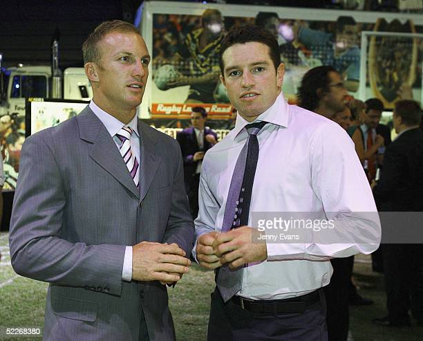 Brisbane player Darren Lockyer and Danny Buderus from Newcastle during the 2005 NRL Season Launch held at Wharf 3 Walsh Bay on March 2 2005 in Sydney...