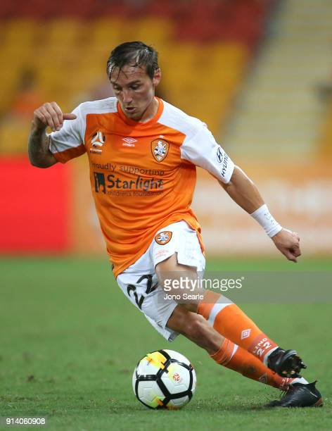 Brisbane player Eric Bautheac controls the ball during the round 19 ALeague match between the Brisbane Roar and Melbourne City at Suncorp Stadium on...