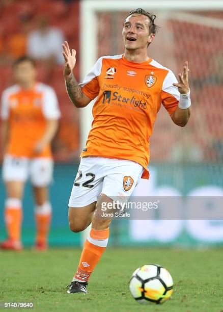 Brisbane player Eric Bautheac reacts to a call during the round 19 ALeague match between the Brisbane Roar and Melbourne City at Suncorp Stadium on...