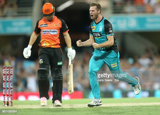 Brisbane player Mark Steketee celebrates a wicket during the Big Bash League match between the Brisbane Heat and the Perth Scorchers at The Gabba on...