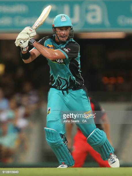 Brisbane player Matthew Renshaw hits the ball during the Big Bash League match between the Brisbane Heat and the Melbourne Renegades at The Gabba on...