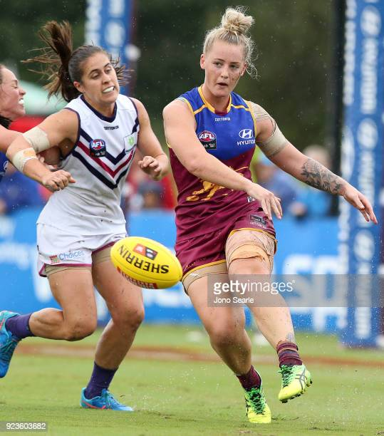 Brisbane player Nicole Hildebrand kicks the ball during the round four AFLW match between the Brisbane Lions and the Fremantle Dockers at South Pine...