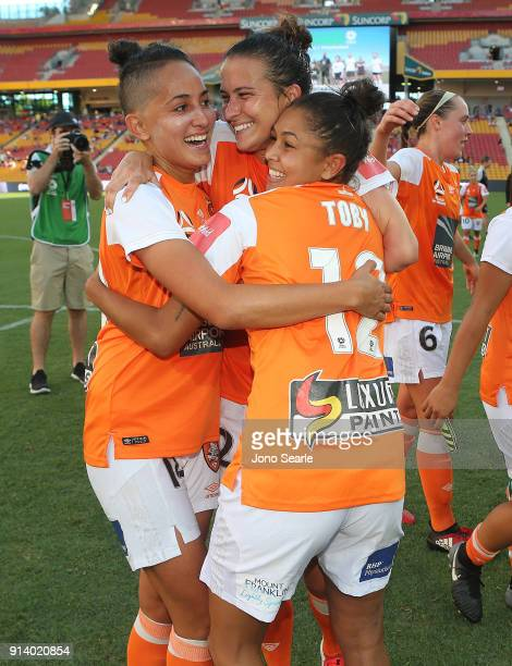 Brisbane players celebrate winning the Minor Premiership after the win during the round 14 WLeague match between the Brisbane Roar and Canberra...