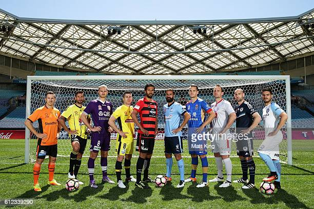 Brisbane Roar captain Matt McKay Vince Lia of Wellington Phoenix Roslyn Griffiths of Perth Glory Central Coast Mariners captain Nick Montgomery...