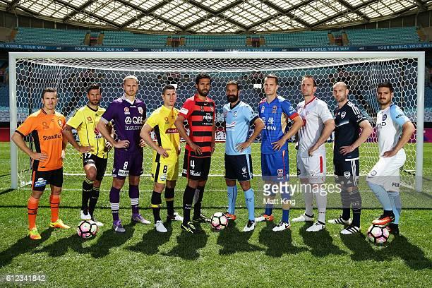 Brisbane Roar captain Matt McKay Vince Lia of Wellington Phoenix Roslyn Griffiths of Perth Glory Central Coast Mariners captain Nick Montgomery...