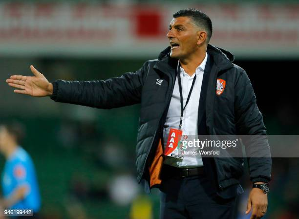 Brisbane Roar Coach John Aloisi giving directions to his players from the sidelines during the round 27 ALeague match between the Perth Glory and the...