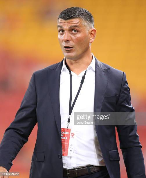 Brisbane Roar coach John Aloisi looks on during the round 22 ALeague match between the Brisbane Roar and Adelaide United at Suncorp Stadium on March...