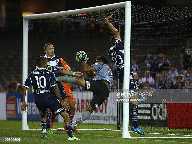 Brisbane Roar goalkeeper Jamie Young dives into the goal with the ball but the goal is disallowed by the referee during the round seven ALeague match...