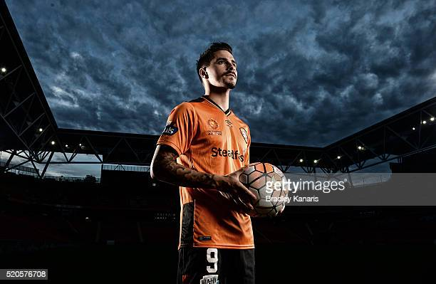 Brisbane Roar player Jamie Maclaren poses during a portrait session at Suncorp Stadium on April 12 2016 in Brisbane Australia