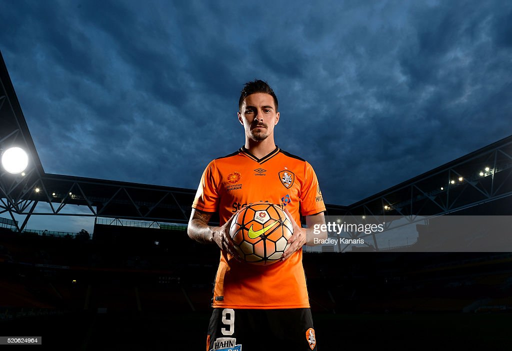 Brisbane Roar player Jamie Maclaren poses during a portrait session at Suncorp Stadium on April 12, 2016 in Brisbane, Australia.