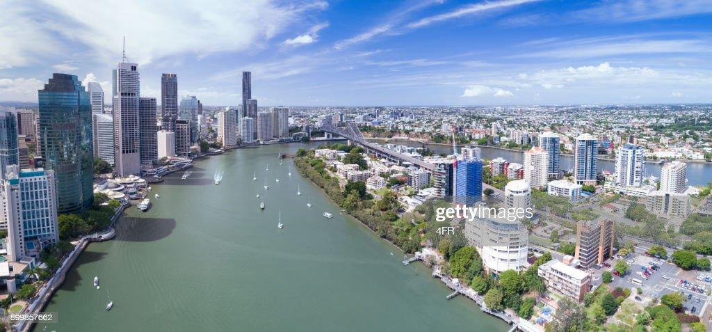 Brisbane Skyline, Aerial Panorama, Queensland, Australia : Stock Photo