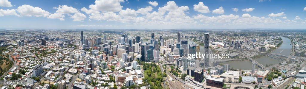 Brisbane Skyline, Aerial Panorama, Queensland, Australia : Stock Photo