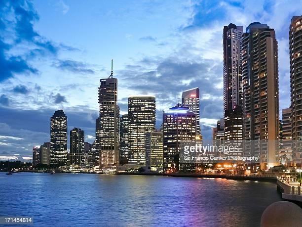 Brisbane skyline at dusk with dramatic sky