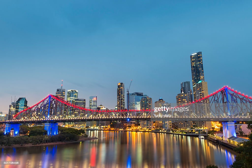 Brisbane Story Bridge during blue hour : Stock Photo