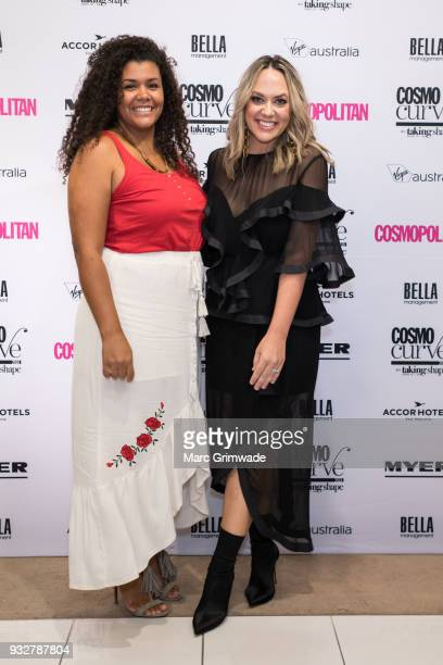 Brisbane winner Loren Burton and Cosmopolitan editor Keshnee Kemp at the Cosmo Curve on March 16 2018 in Brisbane Australia